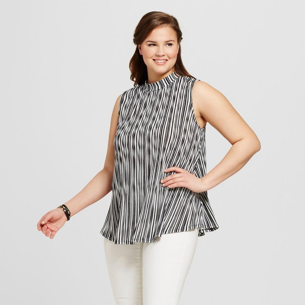 Women's Plus Size High Neck Top Black 1X – 3Hearts, Black White