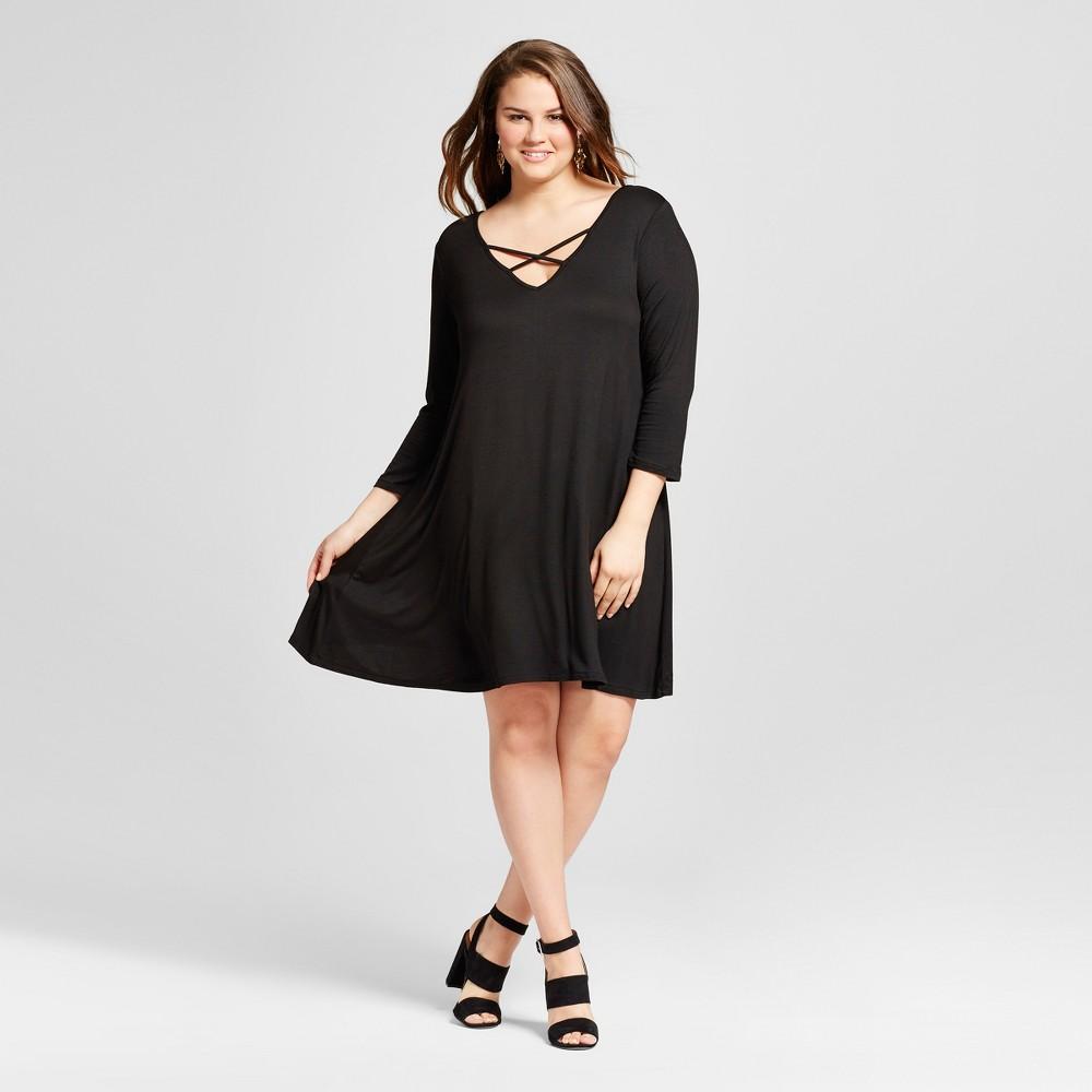 Women's Plus Size Criss-Cross Back Detail Shift Dress Black 1X – 3 Hearts