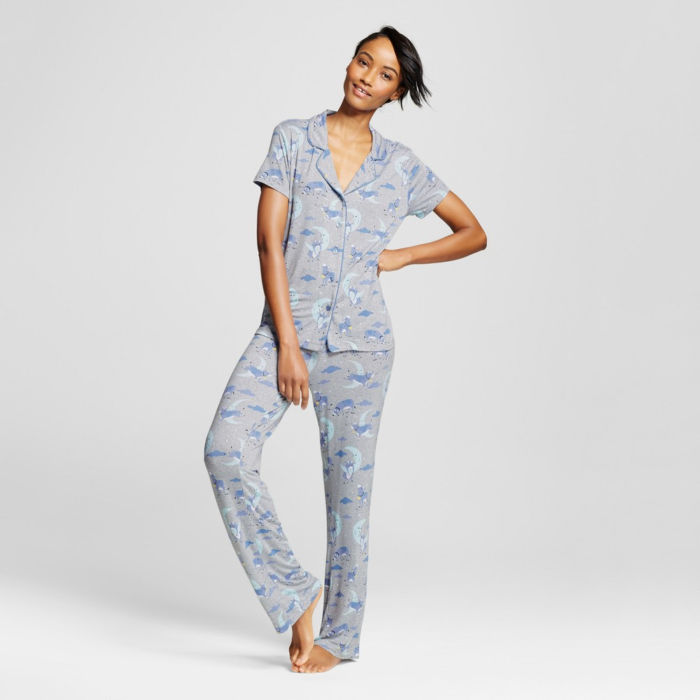 Nite Nite Munki Munki Womens Pajama Set Over The Moon Print - Heather Gray Xxl