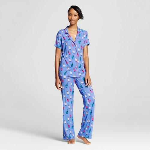 Nite Nite Munki Munki Women's Pajama Set Hipster Llamas Print - Blue S