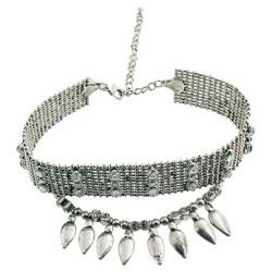 "Women's Fashion Choker with Beads - Silver (12"")"