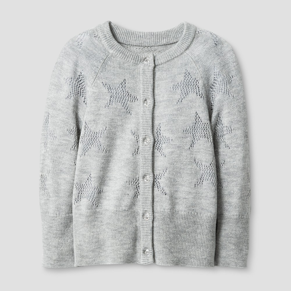 Toddler Girls Star Pointelle Cardigan - Cat & Jack Heather Gray 5T