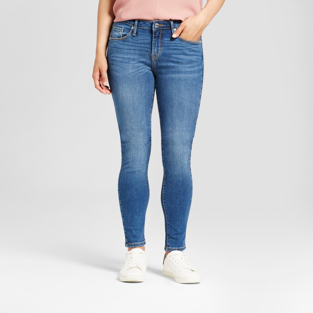 Womens Jeans Core Curvy Skinny - Mossimo Medium Blue 2L, Size: 2 Long