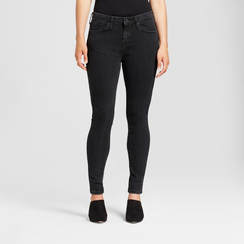 Womens Jeans Core Curvy Skinny - Mossimo Black 14S, Size: 14 Short