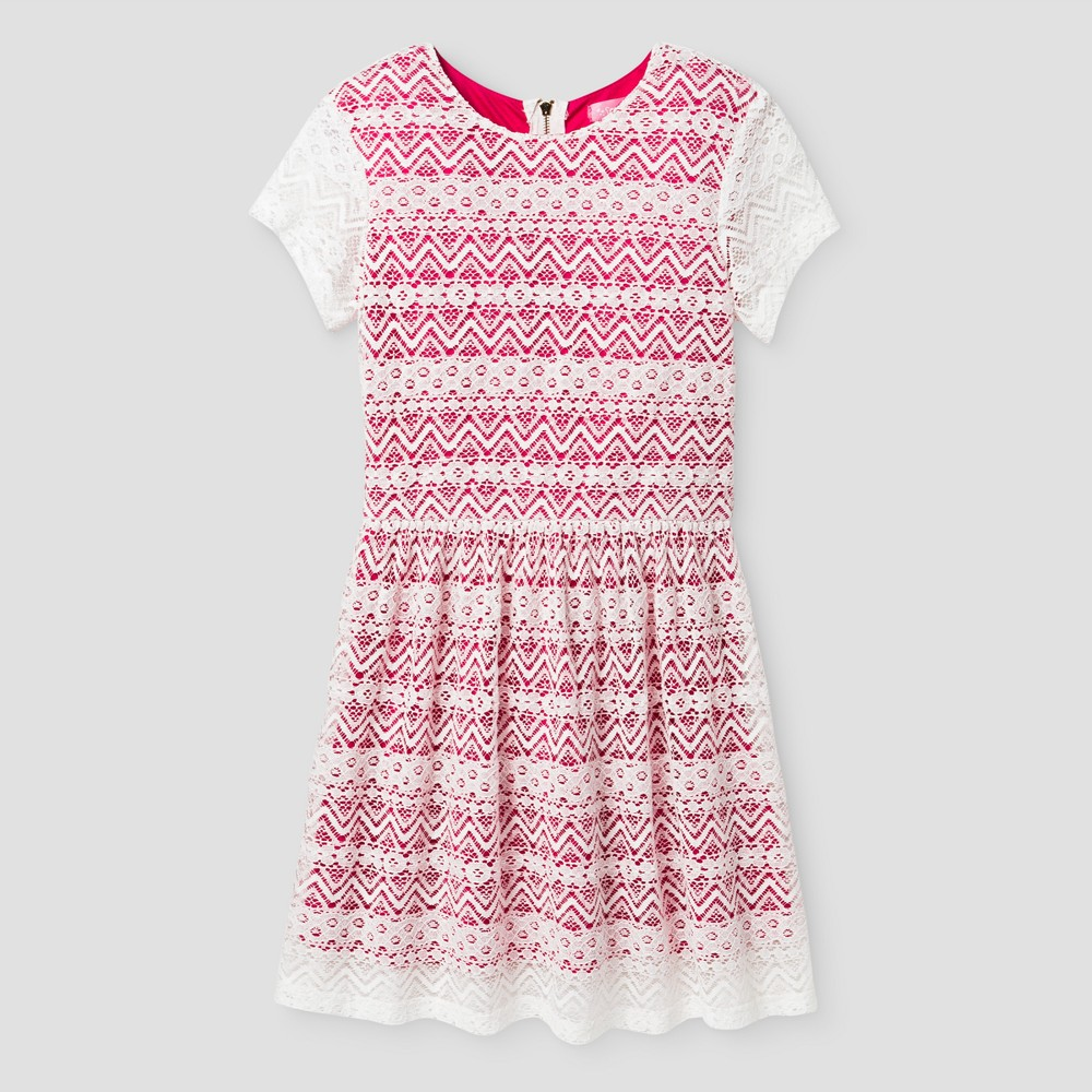 Girls Say What? Lace Dress - Hot Pink XL(14-16)