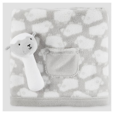 Fluffy Fleece Pocket Blanket/Plush Rattle Toy - Just One You™ Made by Carter's® - Gray Lamb