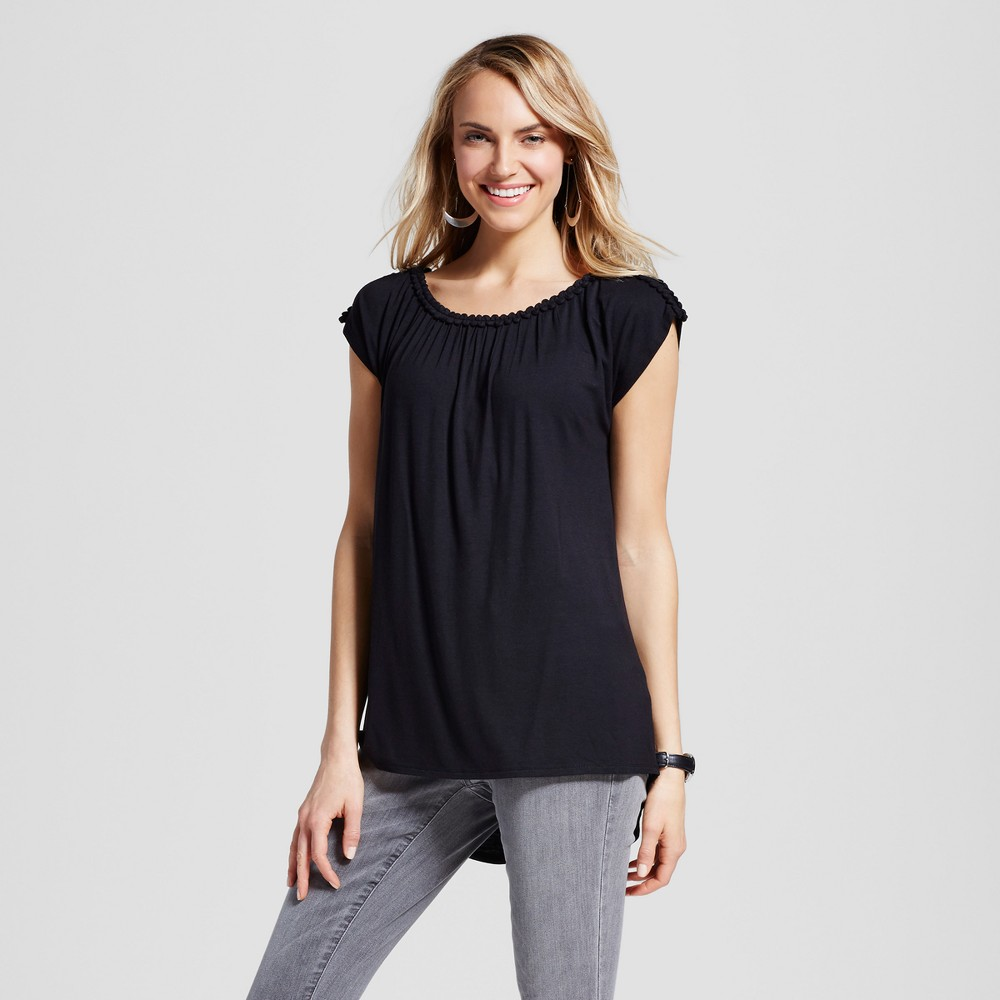 Women's Extended Shoulder Top with Trim Hem – Black XL – Simply by Love Scarlett