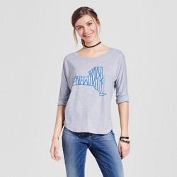 Women's New York State 3/4 Sleeve T-Shirt - Heather Gray (Juniors')
