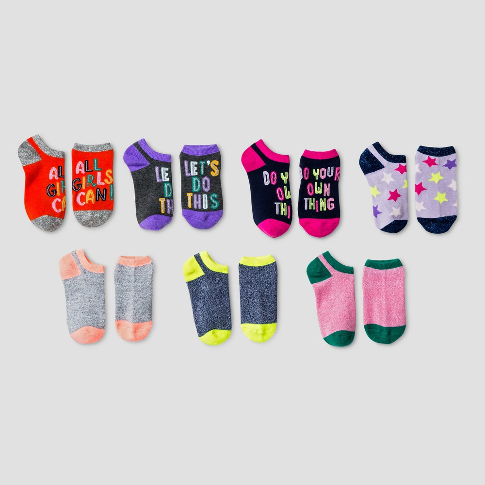 Girls No Show Socks 7pk - Cat & Jack L, Orange