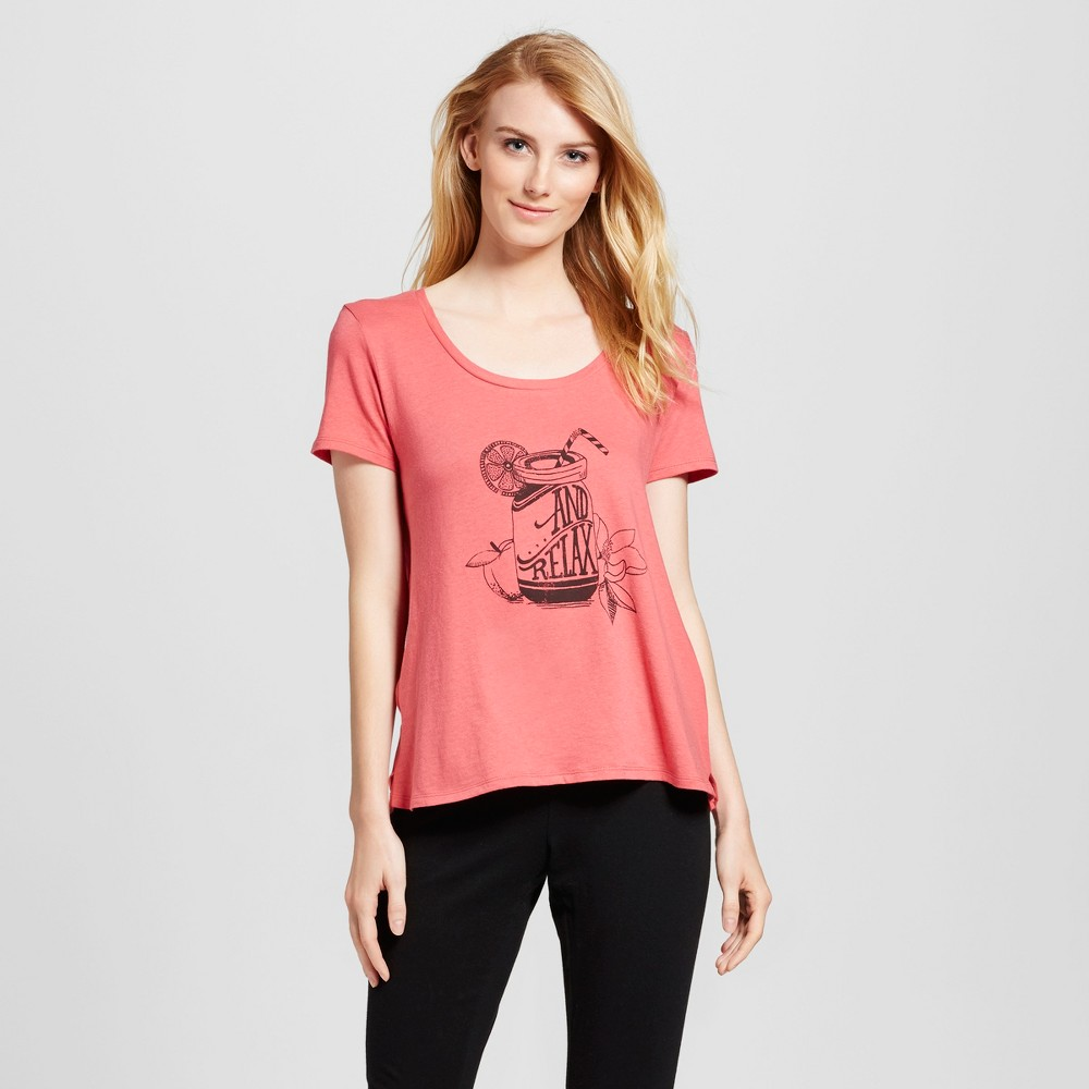 Womens Sleep T-Shirt Washed Scarlet S, Red