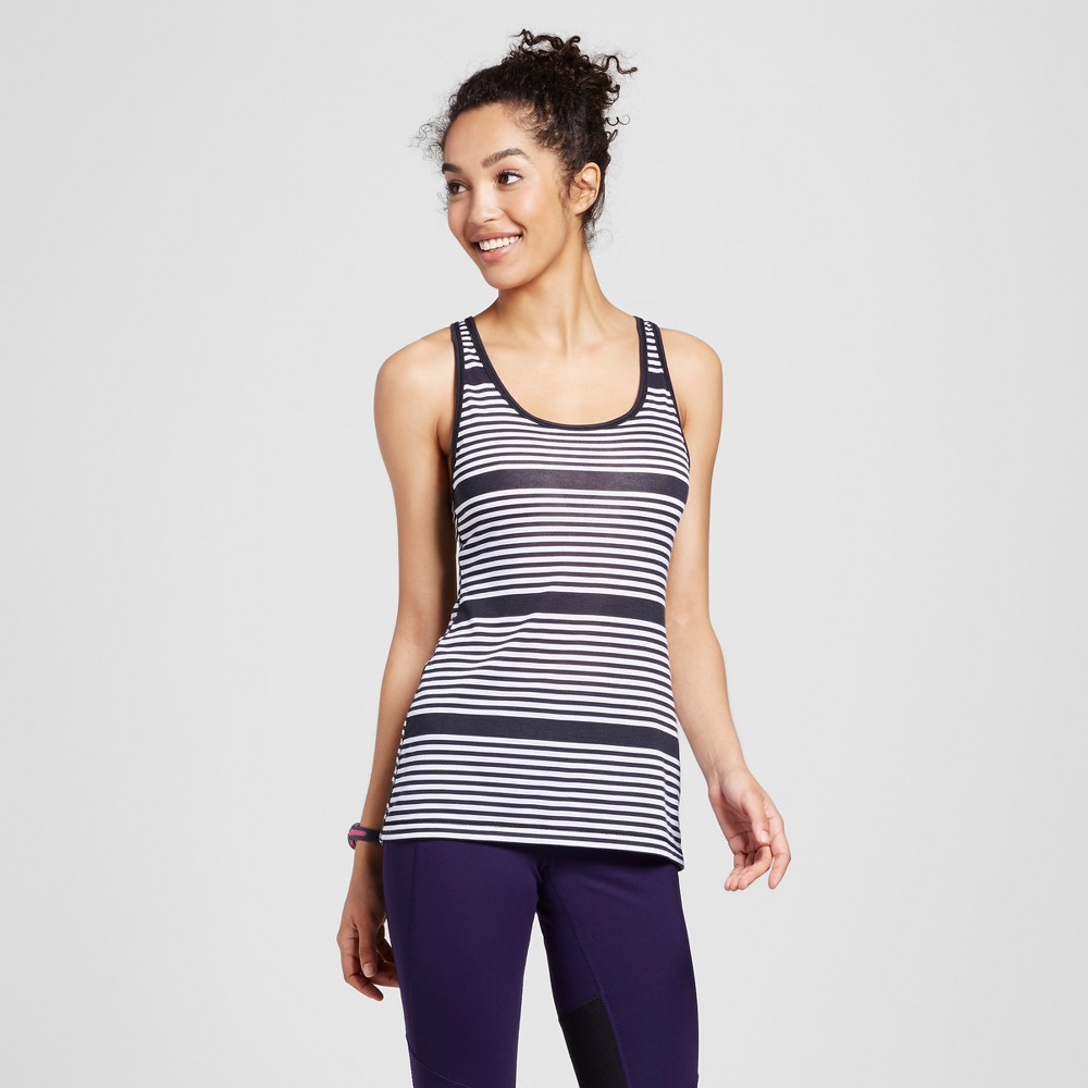 Womens Criss Cross Strap Striped Jersey Tank - Evolve by 2(X)Ist Black/White L