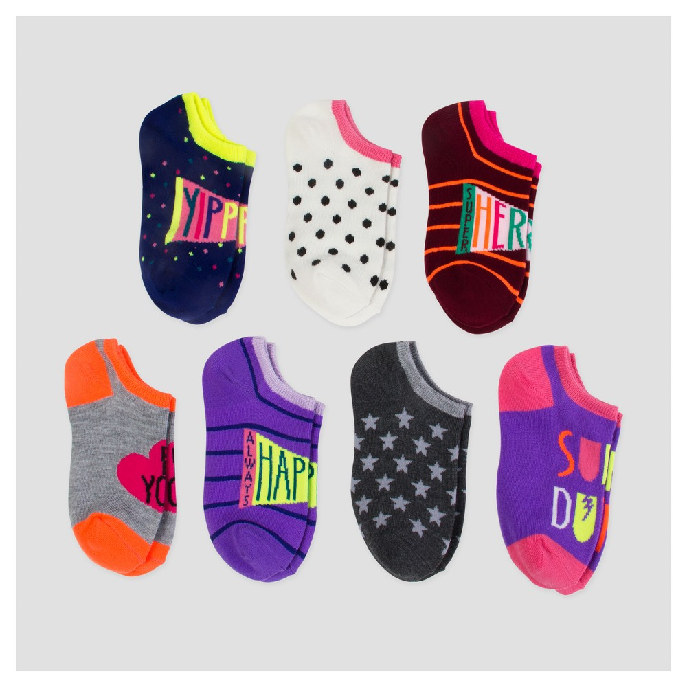 Girls No-Show Socks 7pk - Cat & Jack L, Multicolored