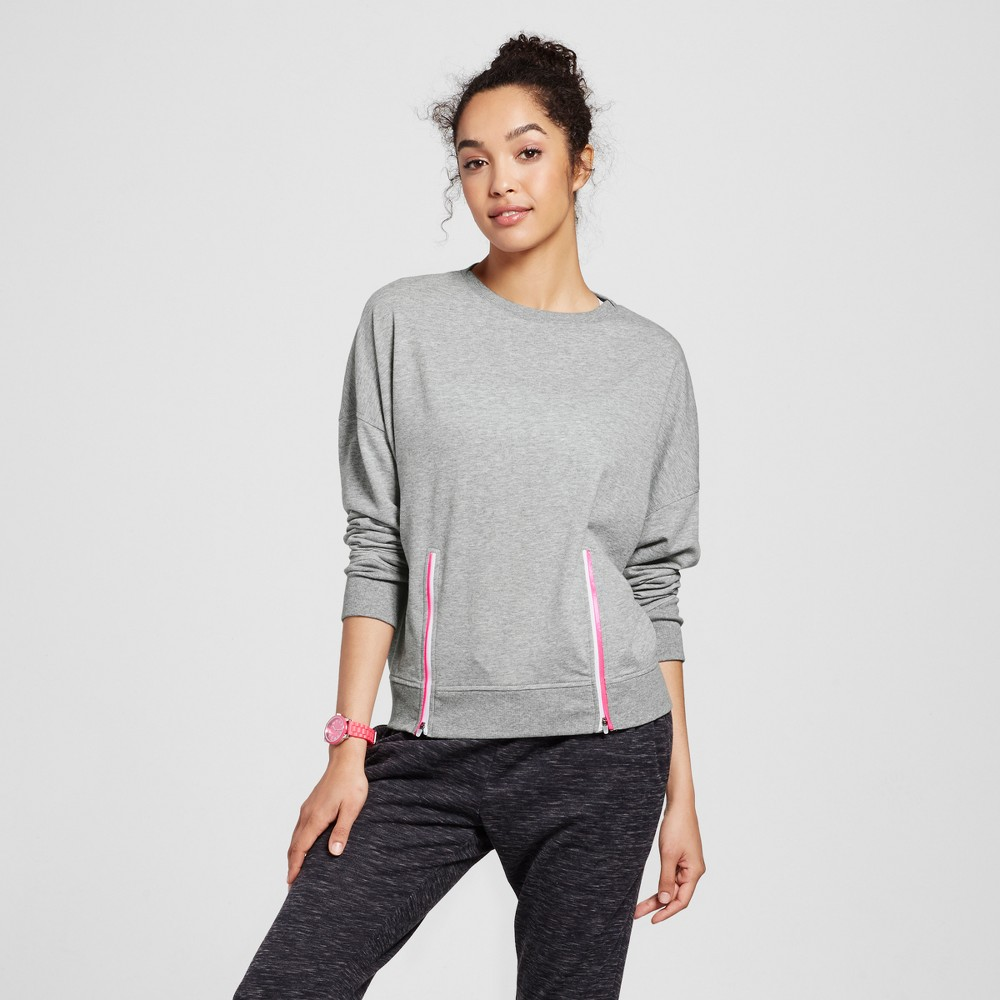 Women's Light Weight French Terry Zipper Detail Sweatershirt - Evolve by 2(X)Ist Heather Gray XS