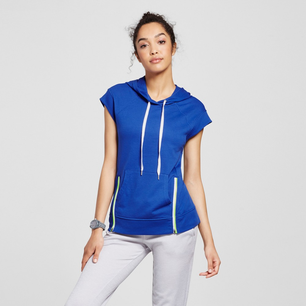 Womens Light Weight French Terry Zipper Detail Hoodie - Evolve by 2(X)Ist Blue XS