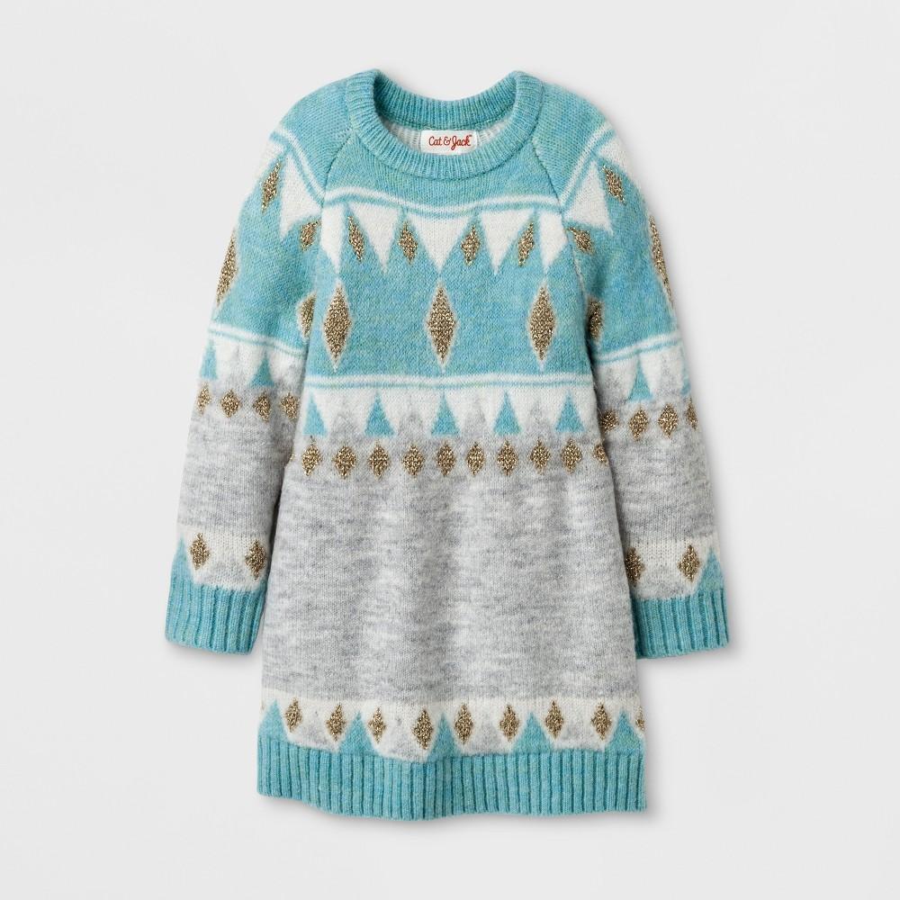 Toddler Girls Crew Neck Jacquard Sweater Dress Cat & Jack - Blue 4T