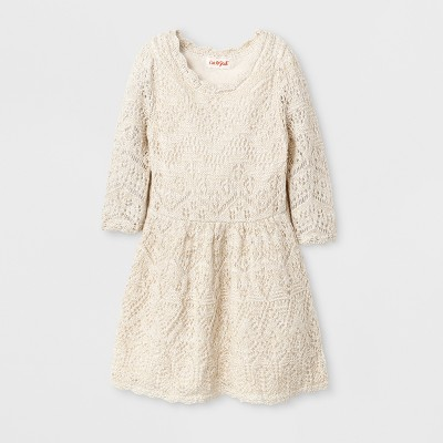Toddler Girls' Crew Neck Pointelle 2-Layers Sweater Dress Cat & Jack™ - Cream 12M