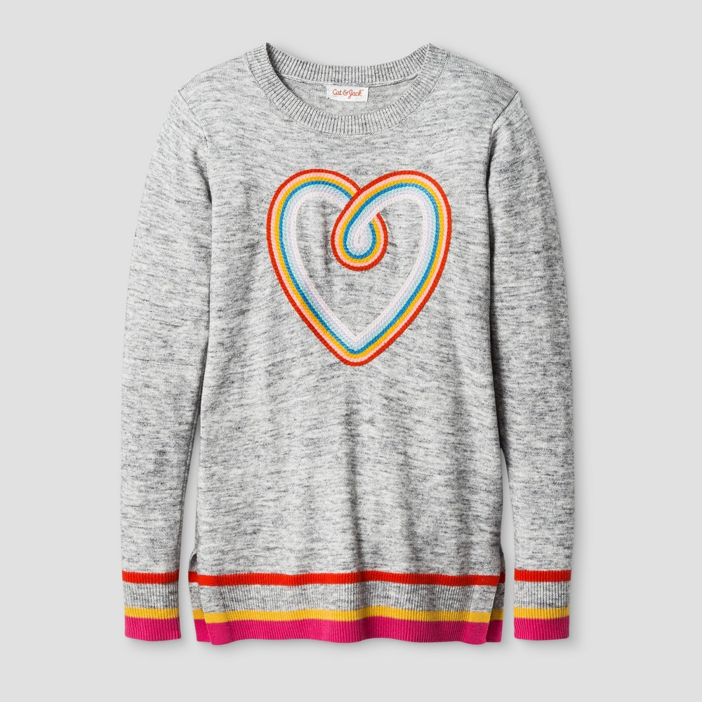 Girls Icon Pullover - Cat & Jack Heather Gray M