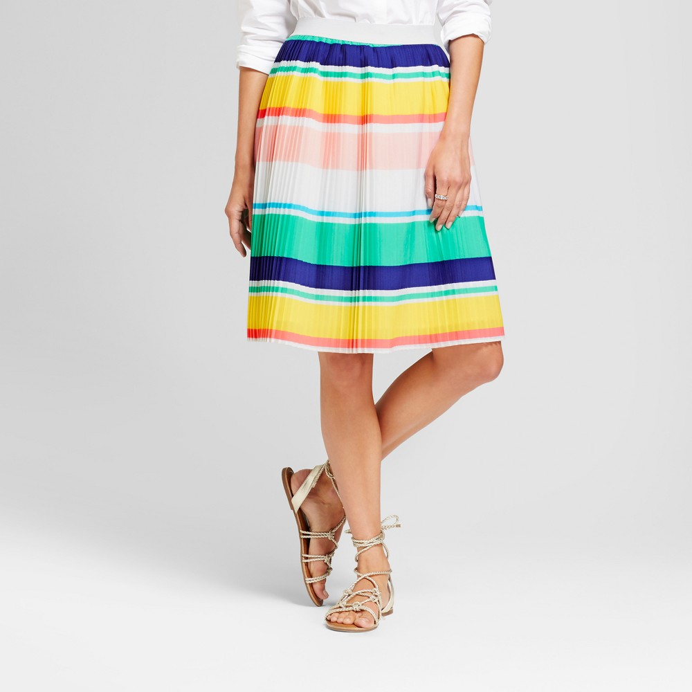 Women's A Line Skirts - Merona Multi stripe M, Multi-Colored Find Skirts at Target.com! You'll love twirling around all day in the flowy design of this Stripe Pleated Skirt from Merona. Colorful bright stripes wrap all around the pleated style to liven up your look no matter where you're off to. With a loose silhouette and full waistband elastic, you'll get the perfect, flattering fit every time. Pair it with a simple tee and sneakers to keep things semi-casual, or dress it up with strappy heels and a feminine blouse — you'll exude confidence and style no matter what. Size: M. Color: Multi-Colored. Gender: Female. Age Group: Adult. Material: Polyester.