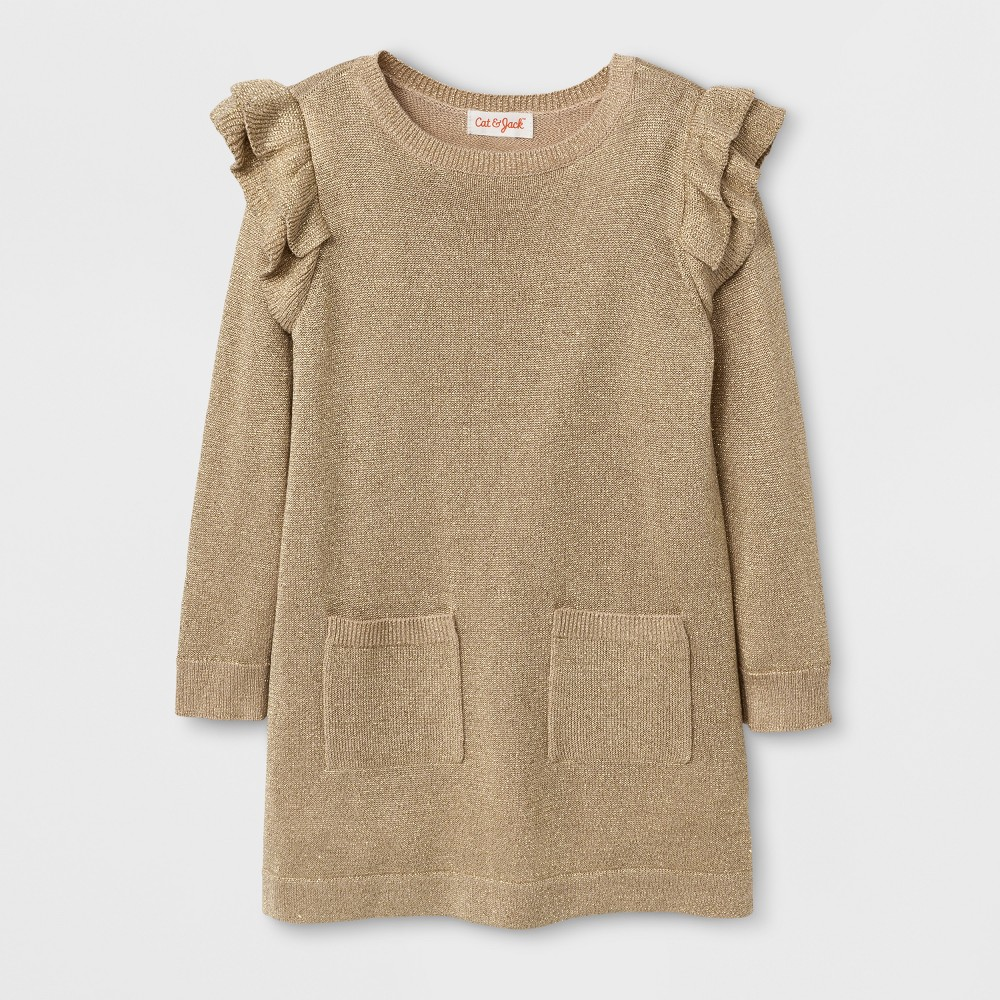 Toddler Girls Crew Neck Sweater Dress Cat & Jack - Gold 5T