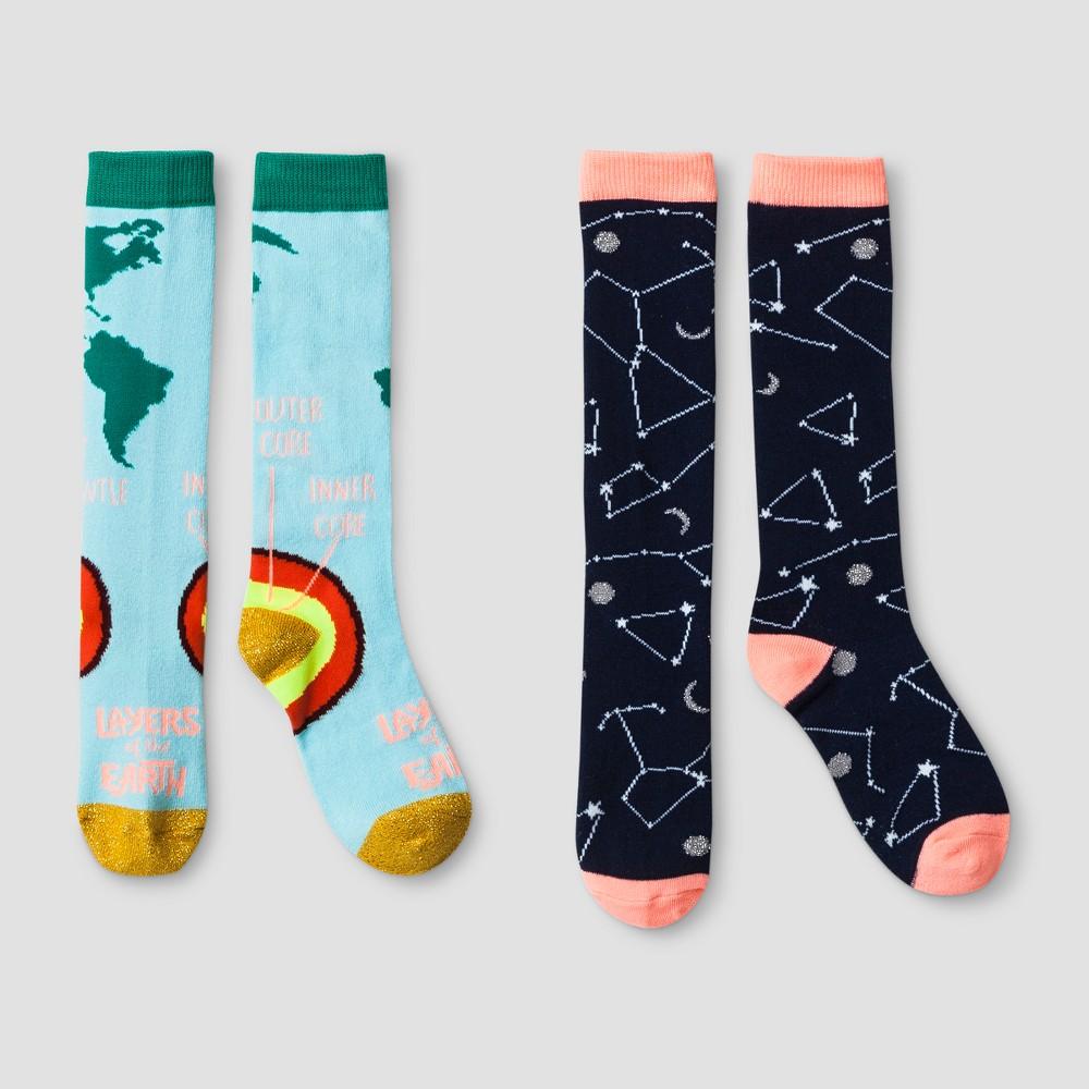 Girls Knee High Socks 2pk - Cat & Jack L, Blue
