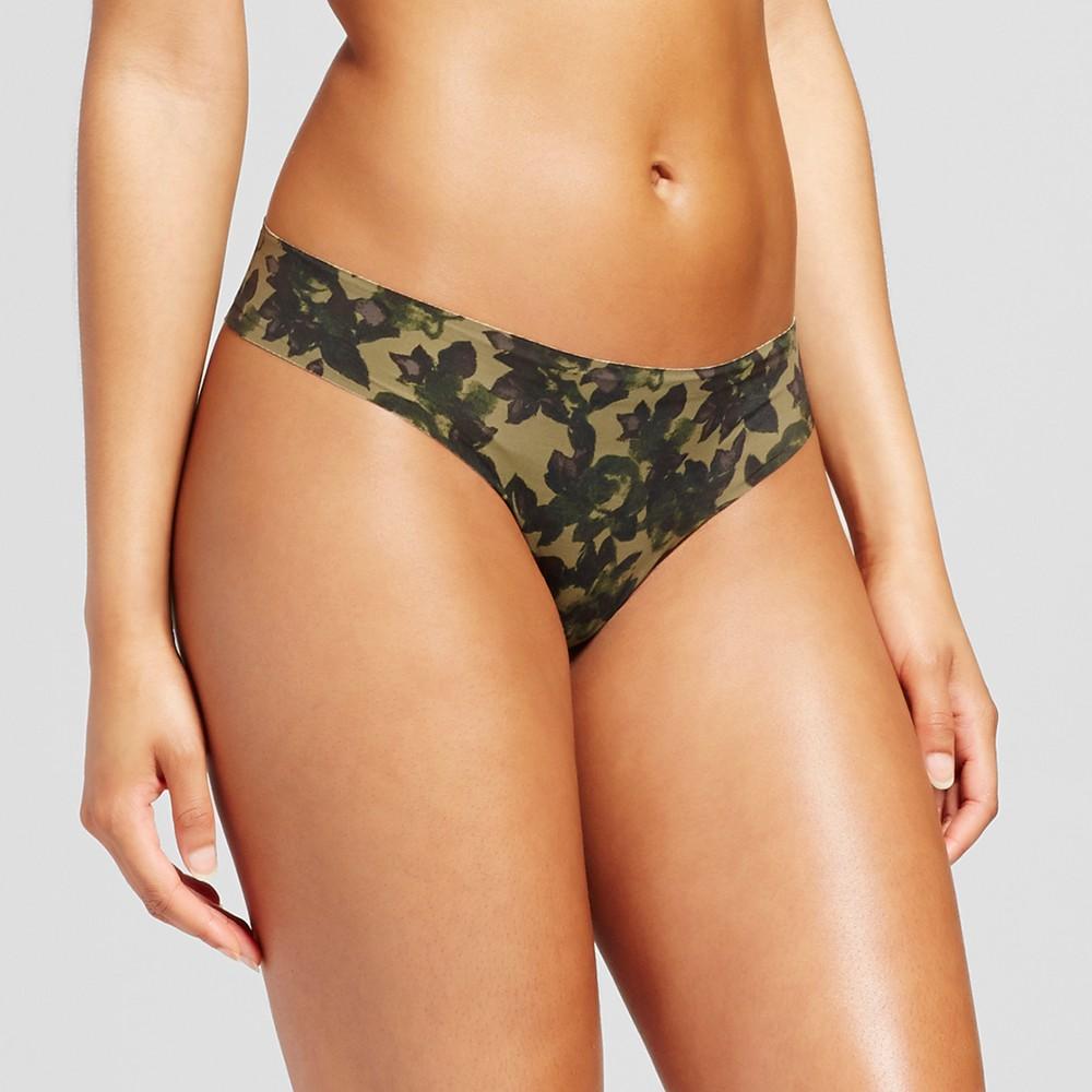Womens Laser Cut Thong - Xhilaration Green Camo Print - XS