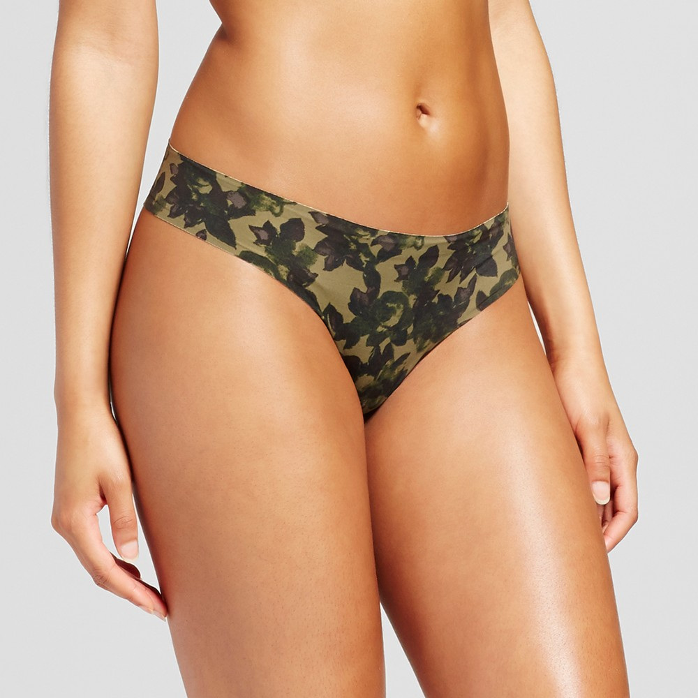 Womens Laser Cut Thong - Xhilaration Green Camo Print - M