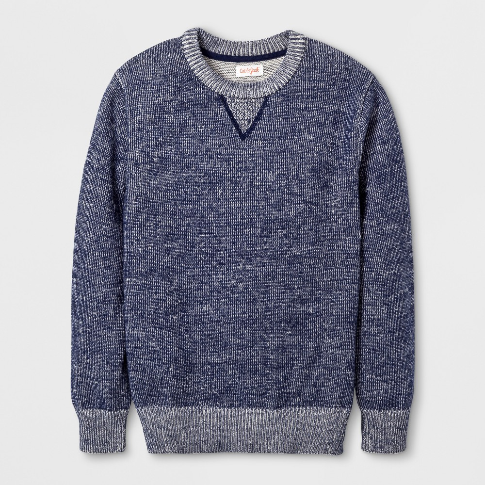 Boys Pullover Sweater - Cat & Jack Navy Heather S, Blue