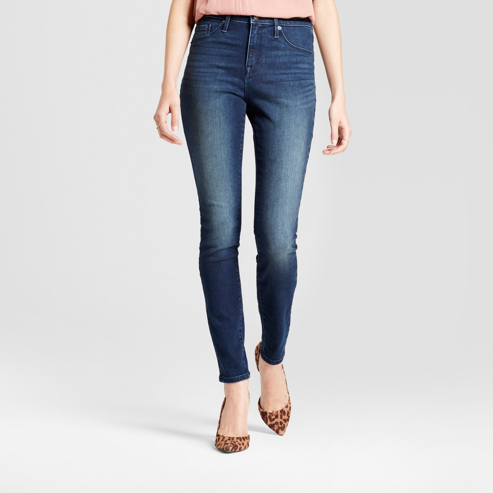Womens Jeans Core High Rise Jeggings - Mossimo Dark Wash 8 Long, Blue