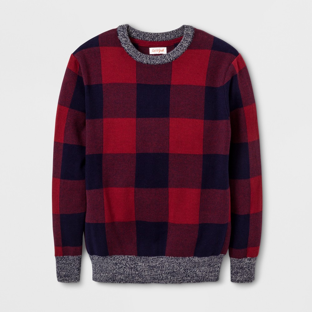 Boys Buffalo Check Pullover Sweater - Cat & Jack Red XS