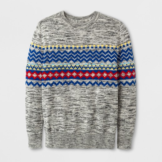 Boys' Fairisle Pullover Sweater - Cat & Jack™ Gray : Target