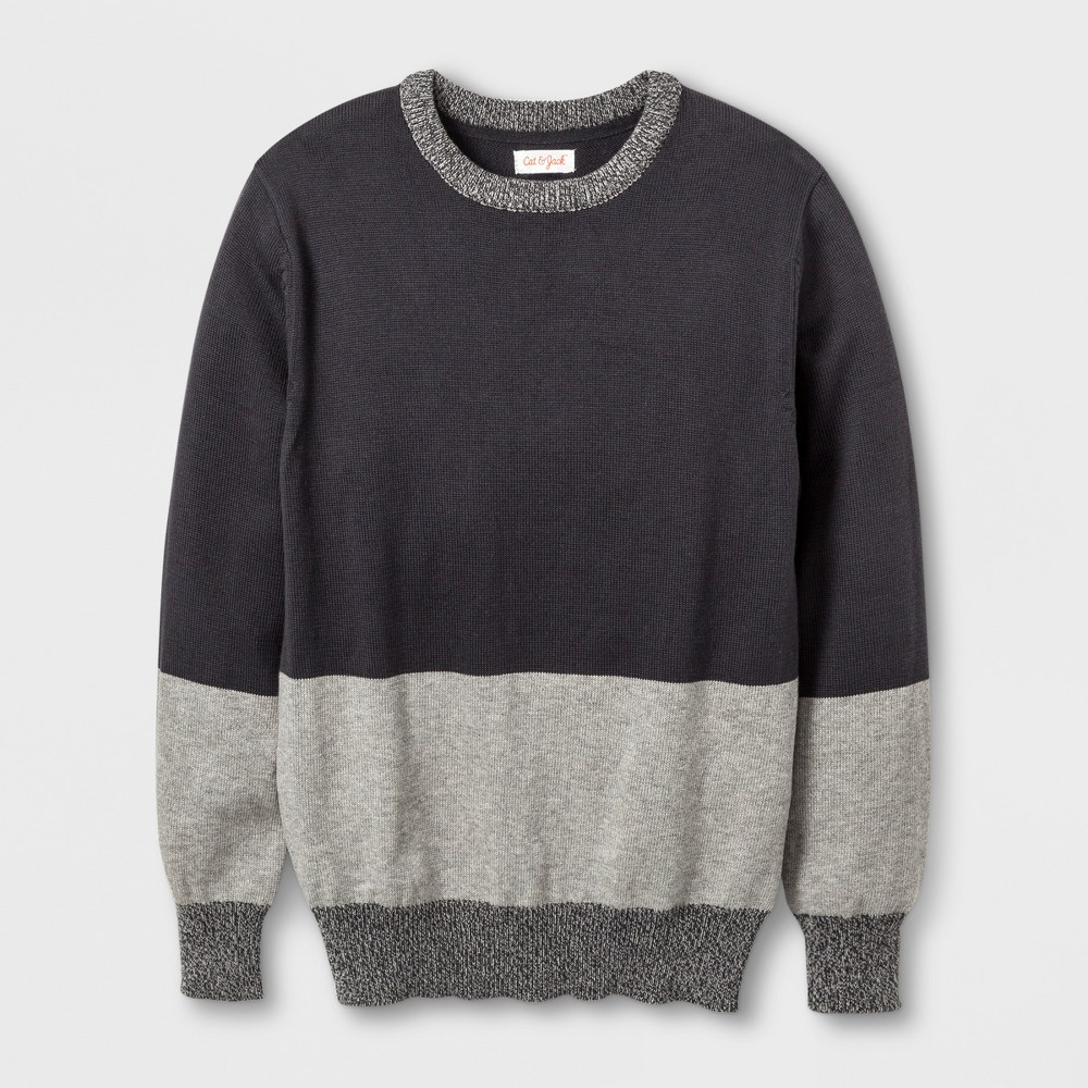 Boys Colorblock Pullover Sweater - Cat & Jack Charcoal L, Gray