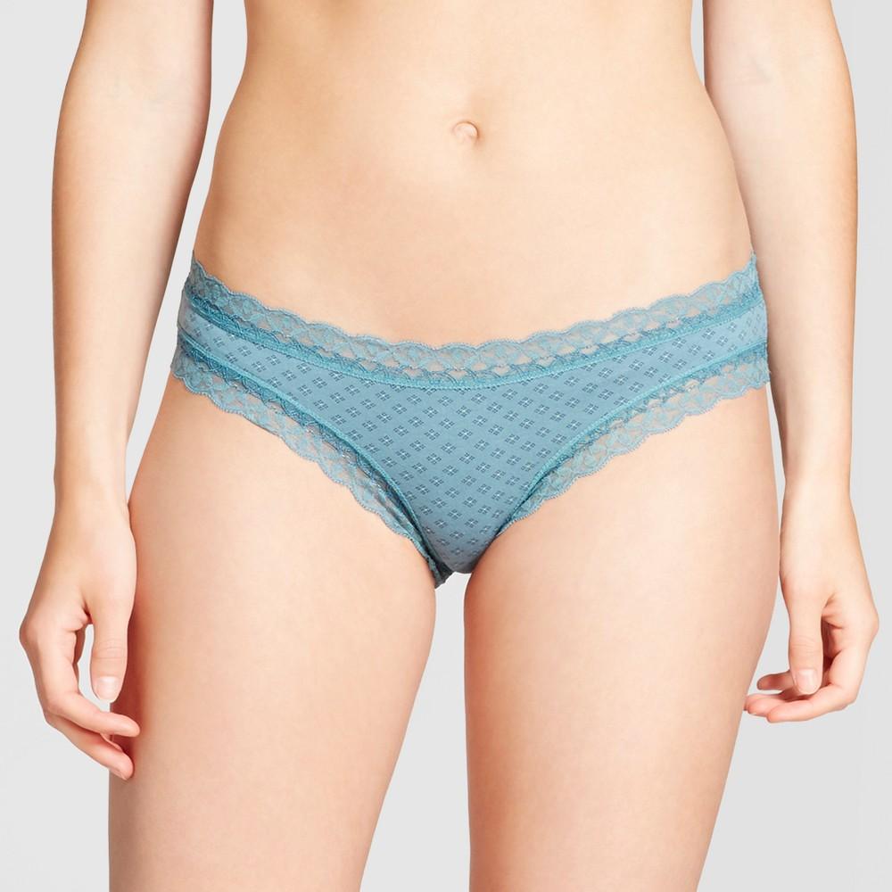 Womens Cotton and Lace Bikini - Nokomis Blue XS