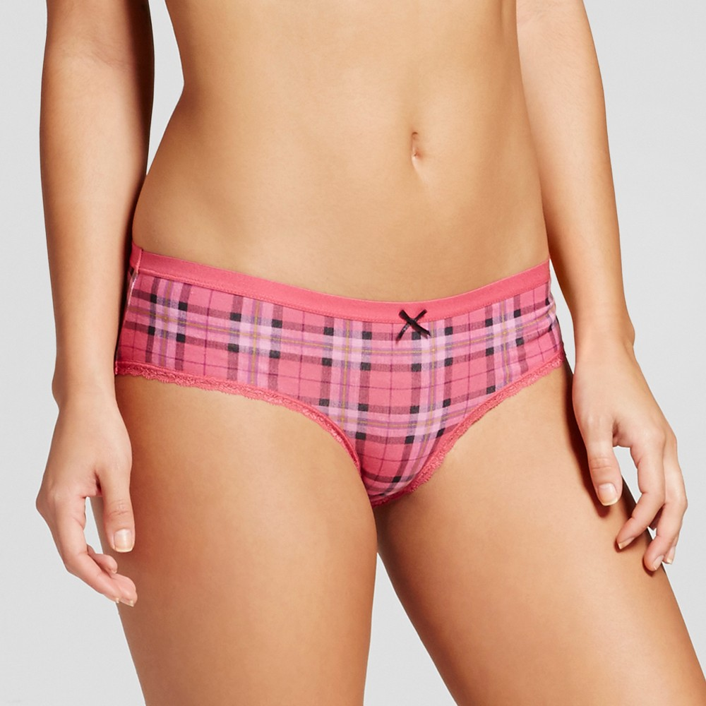 Womens Cotton with Lace Hipster - Xhilaration Rose Plaid - M