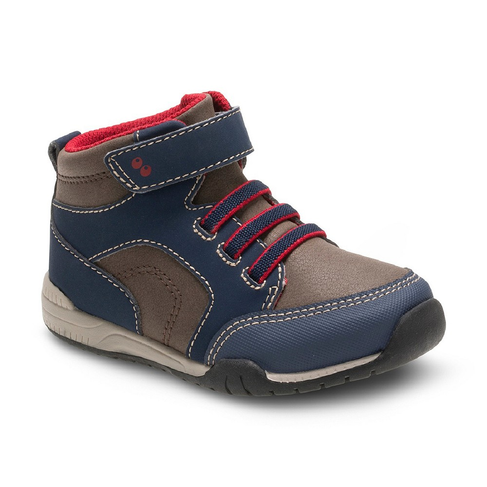 Toddler Boys Surprize by Stride Rite Dallas High Top Sneakers - Navy/Brown 10, Blue Brown