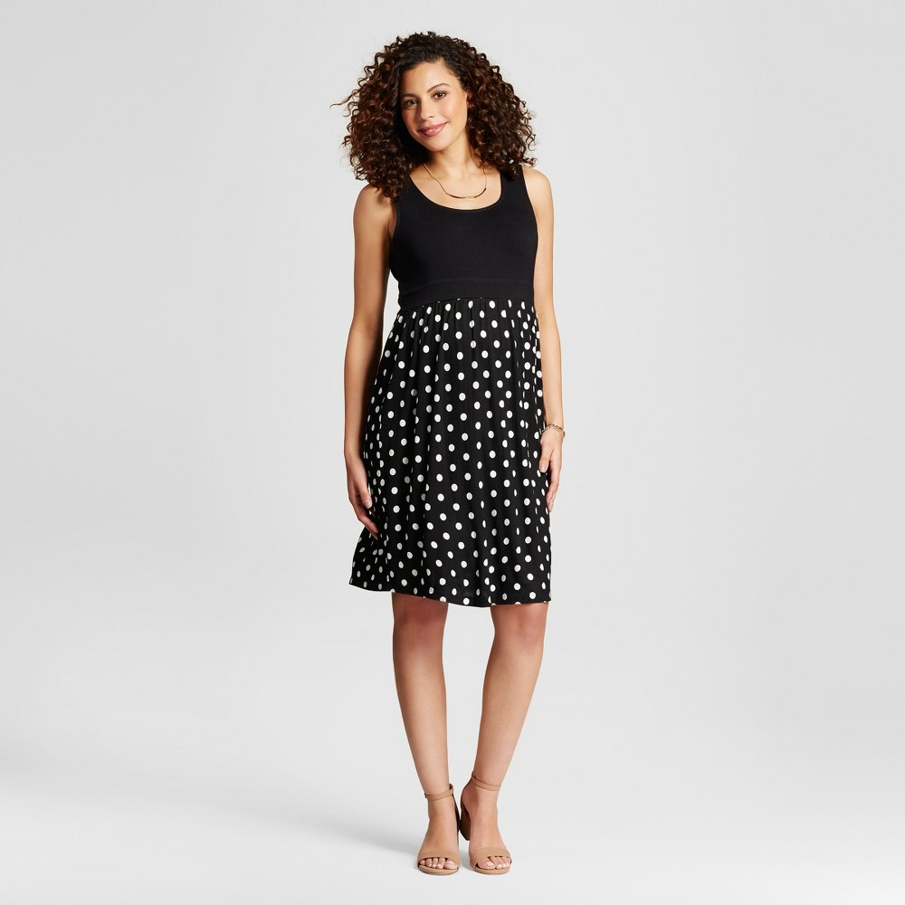 Maternity Polka Dot Print Dress Black M - Ma Cherie, Womens