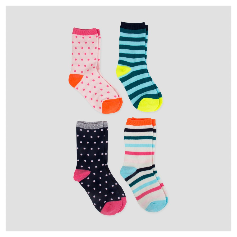 Girls Crew Socks - Cat & Jack 4pk - L, Multicolored