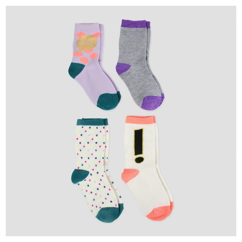 Girls Crew Socks - Cat & Jack 4pk - M, Multicolored