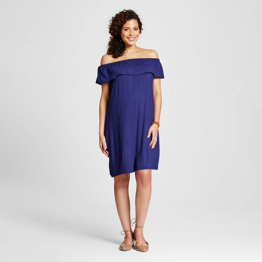 Maternity Off the Shoulder Dress Blue L - Ma Cherie, Womens
