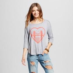 Women's San Francisco Heart 3/4 Sleeve Top - Heather Gray (Juniors')