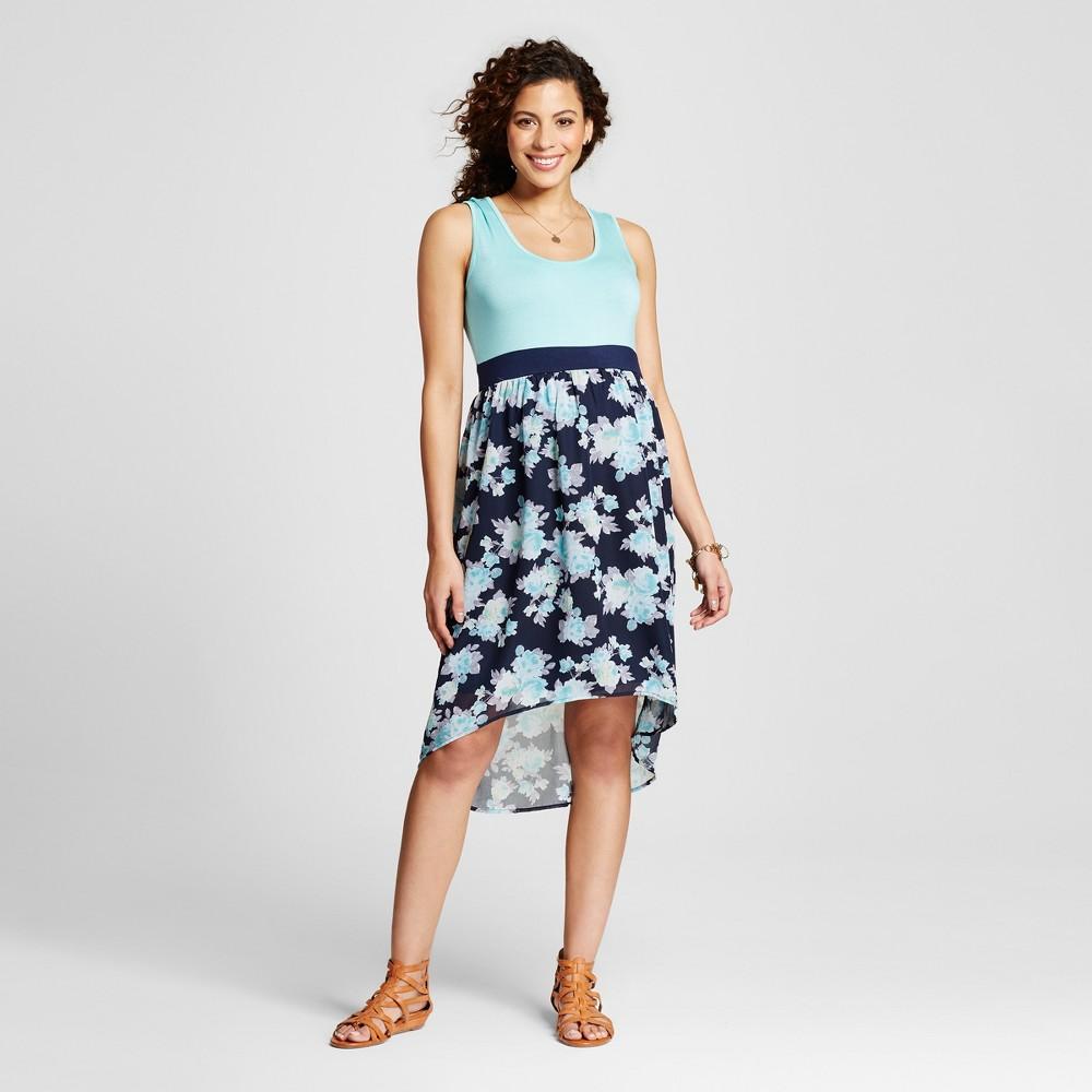 Maternity Floral Print Hi Lo Dress Blue L - Ma Cherie, Womens