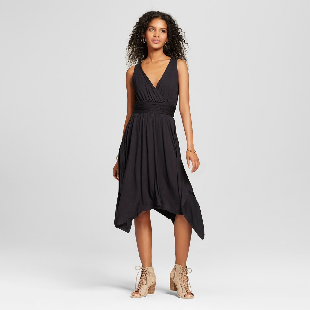 Women's V-Neck Dress with Asymmetrical Hem - Vanity Room Black S