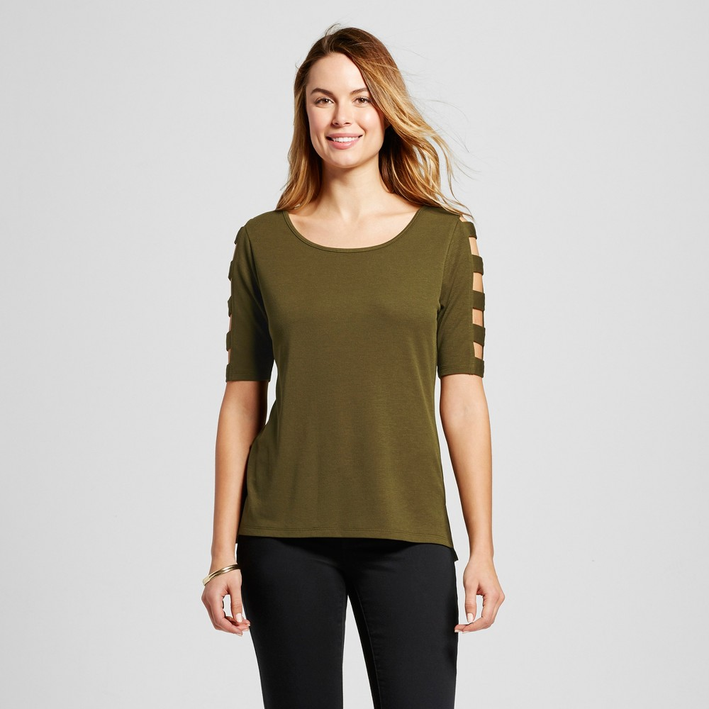 Women's Short Sleeve Top with Caged Sleeves – Olive S – Simply by Love Scarlett, Green