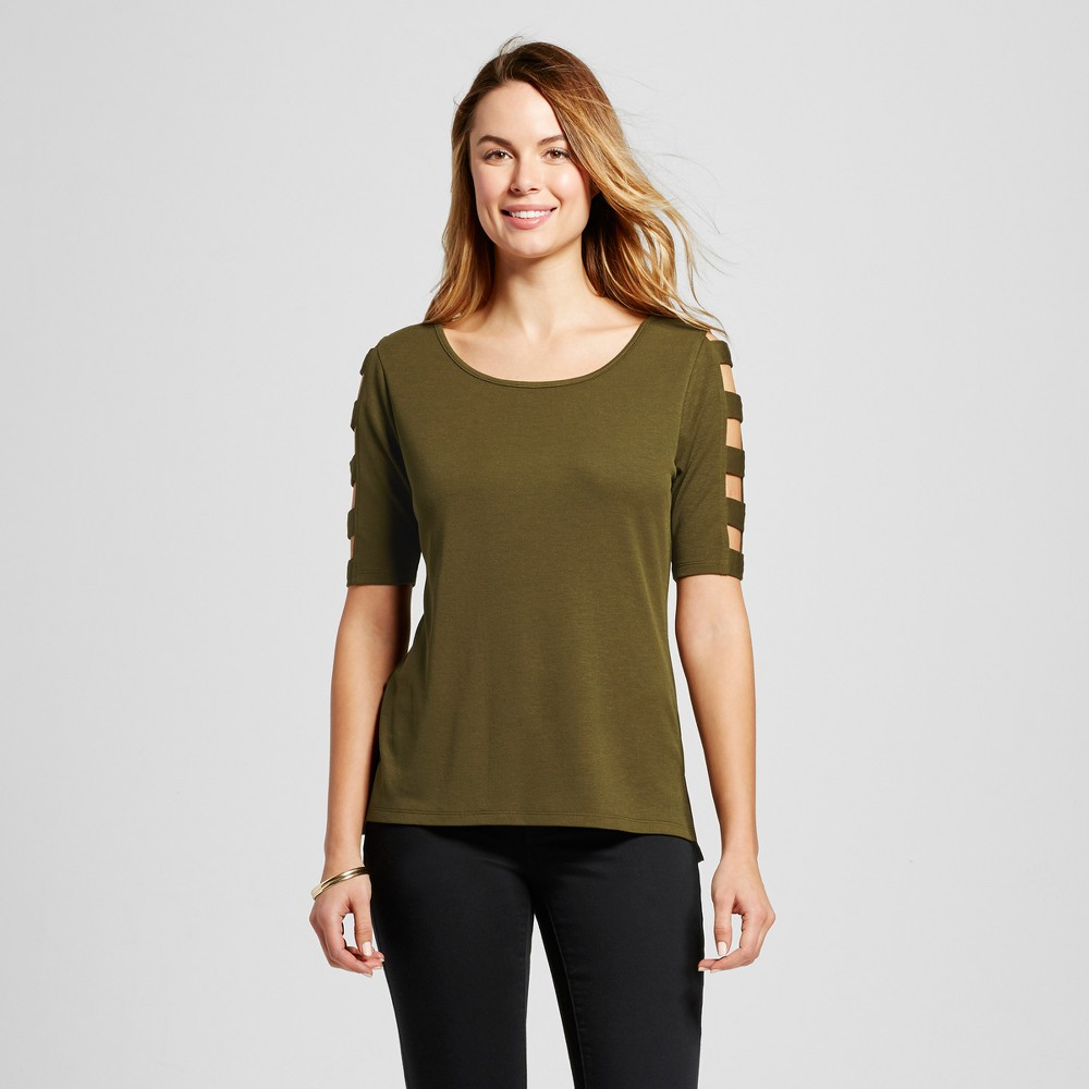 Women's Short Sleeve Top with Caged Sleeves – Olive M – Simply by Love Scarlett, Green