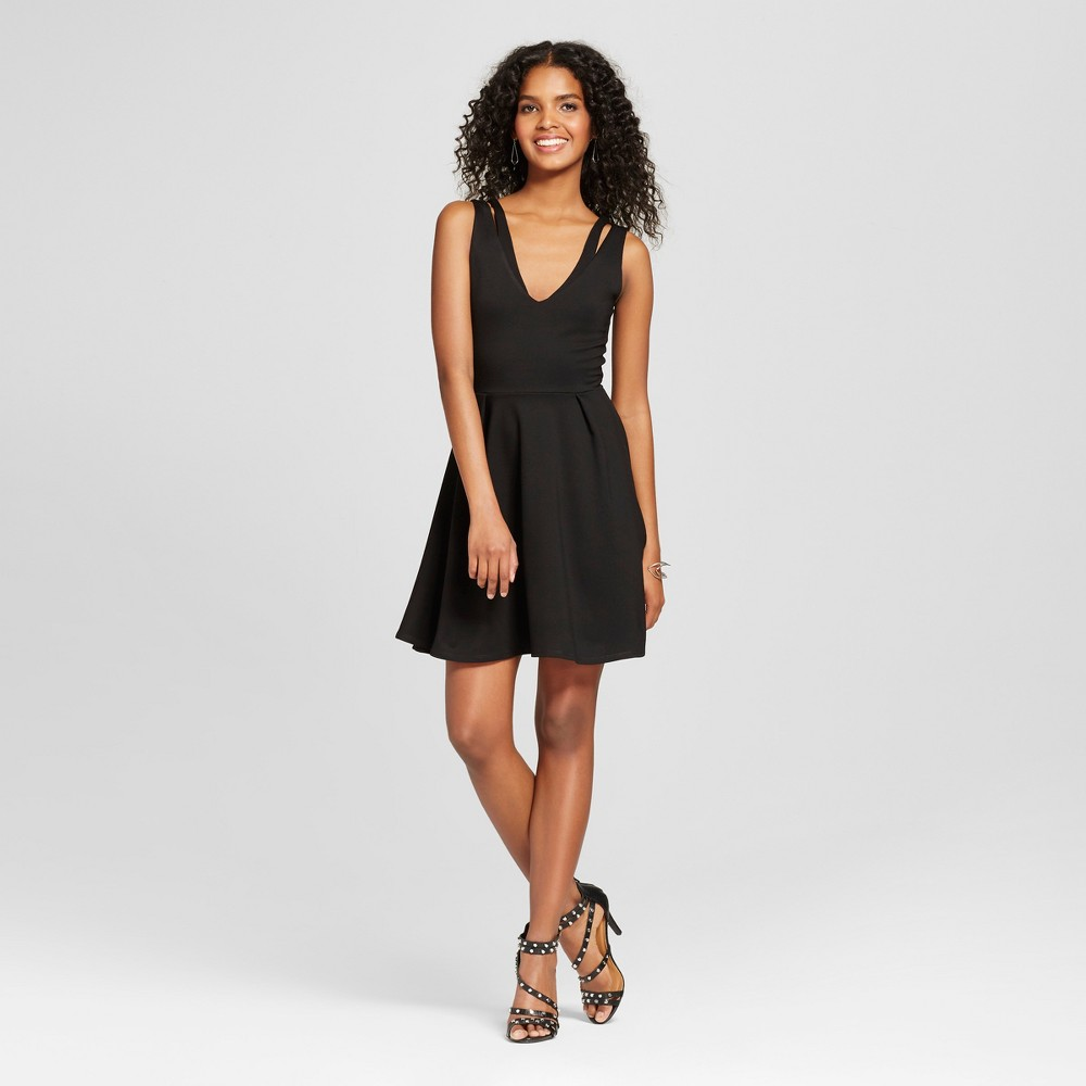 Womens Ponte Fit and Flare Dress with Cut Outs Black S - Vanity Room
