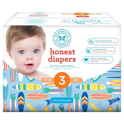 Honest Company Diapers Club Pack, Surfboards - Size 3 (68 ct)