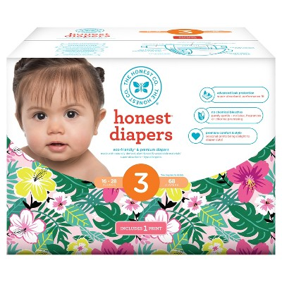 Honest Company Diapers Club Pack, Hibiscus - Size 3 (68 ct)