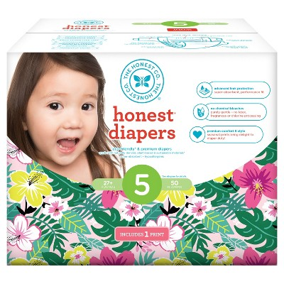 Honest Company Diapers Club Pack, Hibiscus - Size 5 (50 ct)