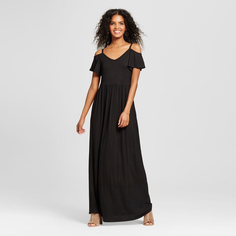 Womens Cold Shoulder Maxi Dress - Vanity Room Black XS