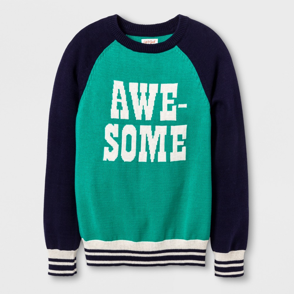 Boys Awesome Pullover Sweater - Cat & Jack Green XS