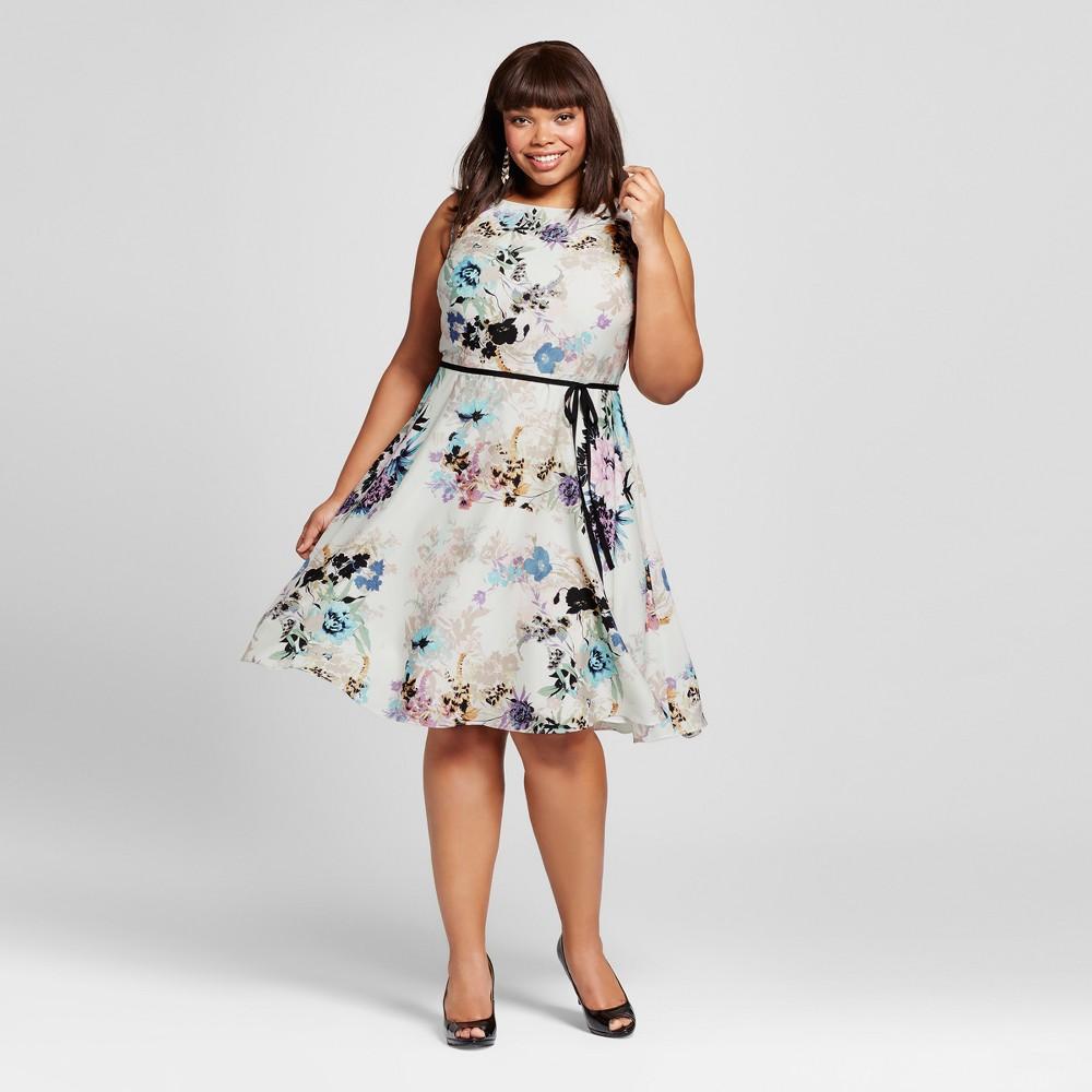 Women's Plus Size A Line Dresses Ivory 22W – Melonie T, White